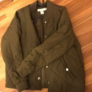 Quilted olive green bomber jacket